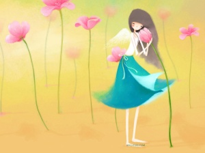 girl and water lily